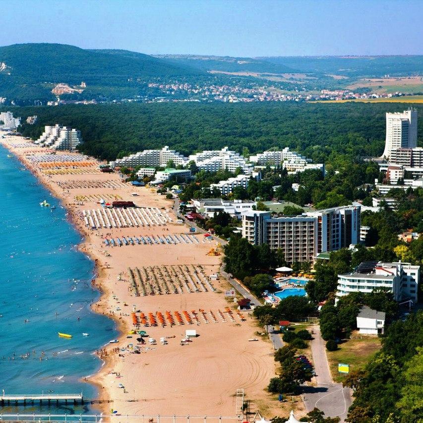 Вид на пляж Албена Болгария